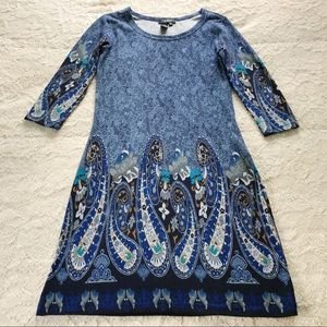 Papillon Blue Stretchy Abstract Dress